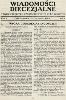 Wiadomości Diecezjalne : organ urzędowy Częstochowskiej Kurji Biskupiej. 1927, nr2