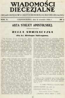 Wiadomości Diecezjalne : organ urzędowy Częstochowskiej Kurji Biskupiej. 1936, nr5