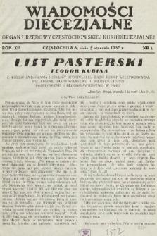 Wiadomości Diecezjalne : organ urzędowy Częstochowskiej Kurji Biskupiej. 1937, nr1