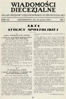Wiadomości Diecezjalne : organ urzędowy Częstochowskiej Kurji Biskupiej. 1938, nr6