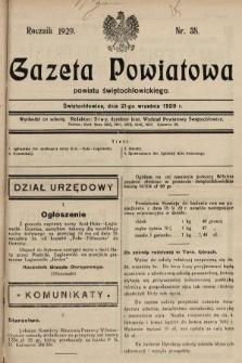 Gazeta Powiatowa Powiatu Świętochłowickiego = Kreisblattdes Kreises Świętochłowice. 1929, nr38