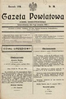 Gazeta Powiatowa Powiatu Świętochłowickiego = Kreisblattdes Kreises Świętochłowice. 1934, nr36