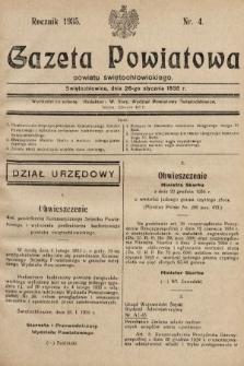 Gazeta Powiatowa Powiatu Świętochłowickiego = Kreisblattdes Kreises Świętochłowice. 1935, nr4