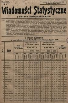Wiadomości Statystyczne Powiatu Świętochłowickiego : dodatek do Gazety Powiatowej. 1931, nr1