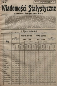 Wiadomości Statystyczne Powiatu Świętochłowickiego : dodatek do Gazety Powiatowej. 1931, nr5