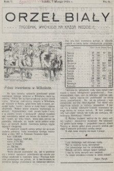 Orzeł Biały : tygodnik, wychodzi na każdą niedzielę. 1926, nr6