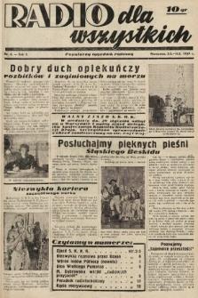 Radio dla Wszystkich : popularny tygodnik radiowy. 1939, nr6