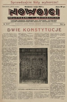 Nowości Polityczne i Gospodarcze : czasopismo poświęcone zagadnieniom życia społecznego i kulturalnego, odbudowy ekonomicznej kraju oraz wzmocnienia państwowości polskiej. 1927, nr26