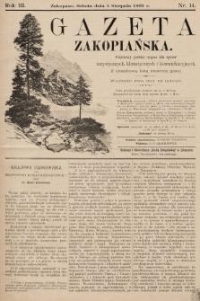 Gazeta Zakopiańska : pierwszy polski organ dla spraw turystycznych, klimatycznych i komunikacyjnych z urzędową listą imienną gości. 1893, nr14
