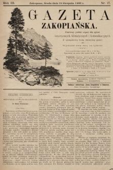 Gazeta Zakopiańska : pierwszy polski organ dla spraw turystycznych, klimatycznych i komunikacyjnych z urzędową listą imienną gości. 1893, nr17