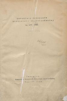 Inwentarz rękopisów Biblioteki Jagiellońskiej : nr 4175-6000. [Cz. 2]