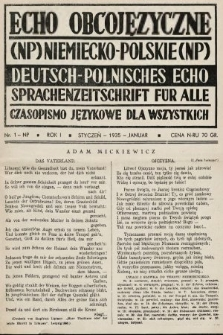 Echo Obcojęzyczne : czasopismo językowe dla wszystkich = Deutsch-Polnisches Echo : Sprachenzeitschrift für alle. 1935, nr1 NP