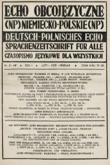 Echo Obcojęzyczne : czasopismo językowe dla wszystkich = Deutsch-Polnisches Echo : Sprachenzeitschrift für alle. 1935, nr2