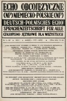 Echo Obcojęzyczne : czasopismo językowe dla wszystkich = Deutsch-Polnisches Echo : Sprachenzeitschrift für alle. 1935, nr3 NP