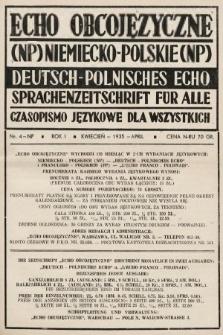 Echo Obcojęzyczne : czasopismo językowe dla wszystkich = Deutsch-Polnisches Echo : Sprachenzeitschrift für alle. 1935, nr4