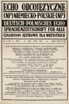 Echo Obcojęzyczne : czasopismo językowe dla wszystkich = Deutsch-Polnisches Echo : Sprachenzeitschrift für alle. 1935, nr5 NP