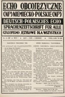Echo Obcojęzyczne : czasopismo językowe dla wszystkich = Deutsch-Polnisches Echo : Sprachenzeitschrift für alle. 1935, nr6