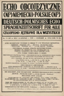 Echo Obcojęzyczne : czasopismo językowe dla wszystkich = Deutsch-Polnisches Echo : Sprachenzeitschrift für alle. 1935, nr11 NP