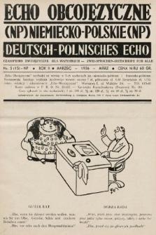 Echo Obcojęzyczne : czasopismo dwujęzyczne dla wszystkich = Deutsch-Polnisches Echo : zwei Sprachen Zeitschrift für alle. 1936, nr3 NP