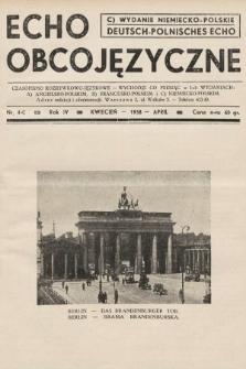 Echo Obcojęzyczne : czasopismo rozrywkowo-językowe = Deutsch-Polnisches Echo. 1938, nr4 C