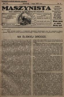 Maszynista : organ Zawodowego Związku Maszynistów Kolejowych : pismo zawodowe poświęcone sprawom maszynistów i kolejnictwu. 1926, nr3