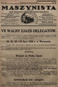 Maszynista : organ Zawodowego Związku Maszynistów Kolejowych : pismo zawodowe poświęcone sprawom maszynistów i kolejnictwu. 1926, nr12