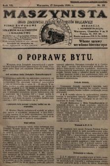 Maszynista : organ Zawodowego Związku Maszynistów Kolejowych : pismo zawodowe poświęcone sprawom maszynistów i kolejnictwu. 1926, nr22