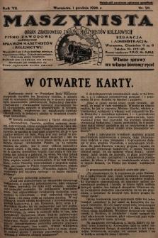 Maszynista : organ Zawodowego Związku Maszynistów Kolejowych : pismo zawodowe poświęcone sprawom maszynistów i kolejnictwu. 1926, nr23