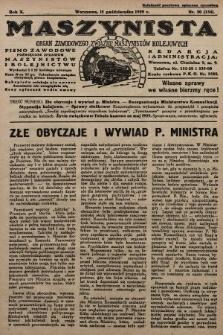 Maszynista : organ Zawodowego Związku Maszynistów Kolejowych : pismo zawodowe poświęcone sprawom maszynistów i kolejnictwu. 1929, nr20