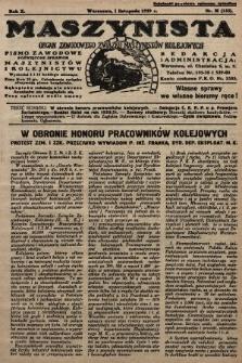 Maszynista : organ Zawodowego Związku Maszynistów Kolejowych : pismo zawodowe poświęcone sprawom maszynistów i kolejnictwu. 1929, nr21