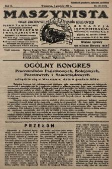 Maszynista : organ Zawodowego Związku Maszynistów Kolejowych : pismo zawodowe poświęcone sprawom maszynistów i kolejnictwu. 1929, nr23