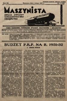 Maszynista : organ Związku Zaw. Maszynistów Kolejowych. 1931, nr3