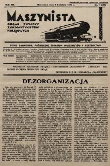 Maszynista : organ Związku Zaw. Maszynistów Kolejowych. 1931, nr7