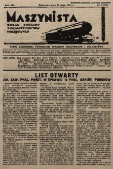 Maszynista : organ Związku Zaw. Maszynistów Kolejowych. 1931, nr9