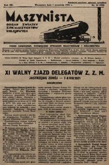 Maszynista : organ Związku Zaw. Maszynistów Kolejowych. 1931, nr16