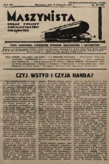 Maszynista : organ Związku Zaw. Maszynistów Kolejowych. 1931, nr20