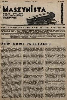 Maszynista : organ Związku Zaw. Maszynistów Kolejowych. 1937, nr2