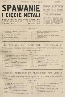 Spawanie i Cięcie Metali : organ Związku Polskiego Przemysłu Acetylenowego i Tlenowego. 1928, nr3