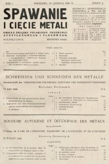 Spawanie i Cięcie Metali : organ Związku Polskiego Przemysłu Acetylenowego i Tlenowego. 1928, nr6