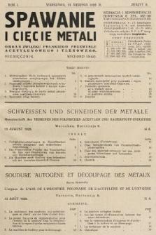 Spawanie i Cięcie Metali : organ Związku Polskiego Przemysłu Acetylenowego i Tlenowego. 1928, nr8