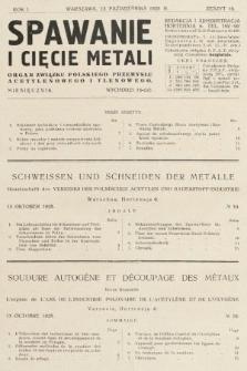 Spawanie i Cięcie Metali : organ Związku Polskiego Przemysłu Acetylenowego i Tlenowego. 1928, nr10