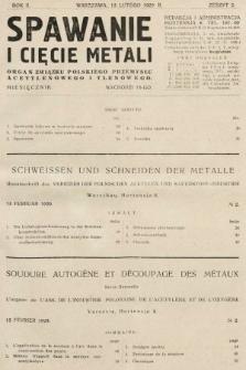 Spawanie i Cięcie Metali : organ Związku Polskiego Przemysłu Acetylenowego i Tlenowego. 1929, nr2