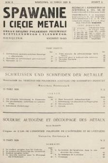 Spawanie i Cięcie Metali : organ Związku Polskiego Przemysłu Acetylenowego i Tlenowego. 1929, nr3