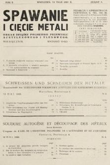 Spawanie i Cięcie Metali : organ Związku Polskiego Przemysłu Acetylenowego i Tlenowego. 1929, nr5