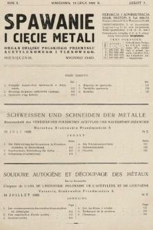 Spawanie i Cięcie Metali : organ Związku Polskiego Przemysłu Acetylenowego i Tlenowego. 1929, nr7