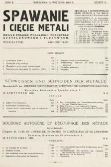 Spawanie i Cięcie Metali : organ Związku Polskiego Przemysłu Acetylenowego i Tlenowego. 1929, nr9