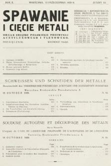 Spawanie i Cięcie Metali : organ Związku Polskiego Przemysłu Acetylenowego i Tlenowego. 1929, nr10
