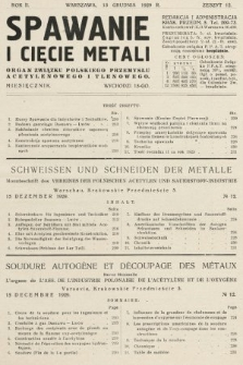 Spawanie i Cięcie Metali : organ Związku Polskiego Przemysłu Acetylenowego i Tlenowego. 1929, nr12