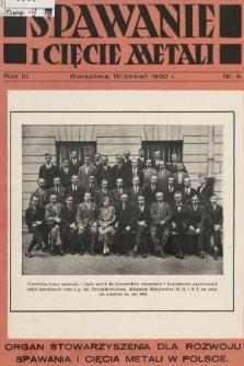 Spawanie i Cięcie Metali : organ Stowarzyszenia dla rozwoju spawania i cięcia metali w Polsce. 1930, nr9