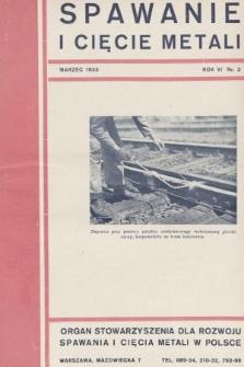 Spawanie i Cięcie Metali : organ Stowarzyszenia dla rozwoju spawania i cięcia metali w Polsce. 1933, nr3